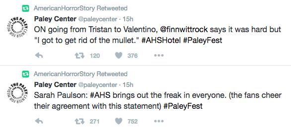 AHS PaleyFest Tweet