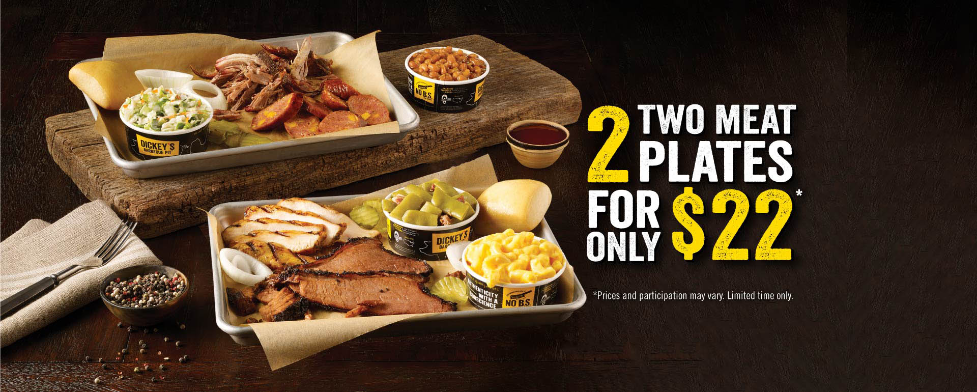 2 Two Meat Plates for $22
