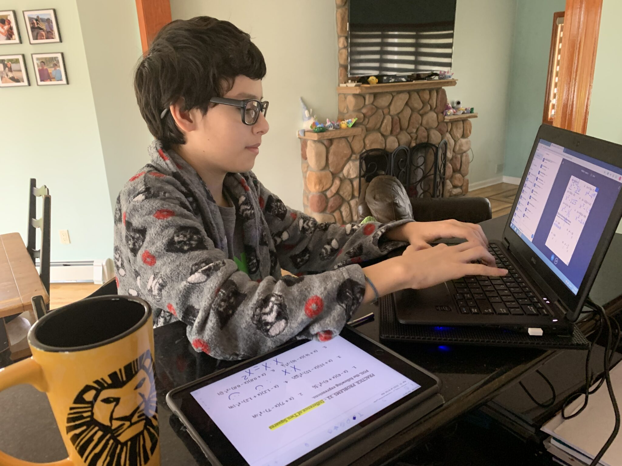 Gabriel Blanco '24 begins the day learning from home.