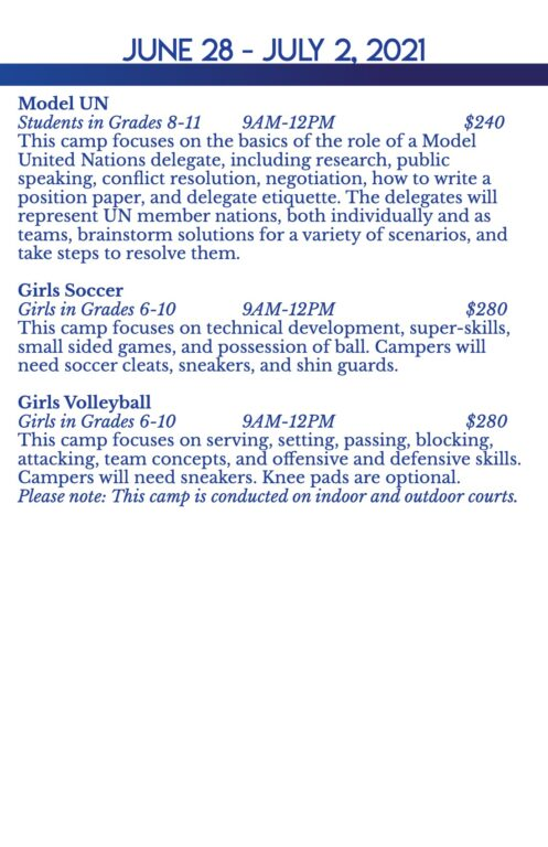 Summer Camps Printed Handout 2021 for Print 3-3