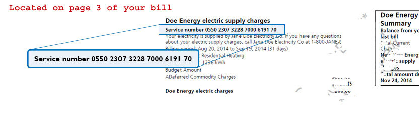 how to find service number in electricity bill