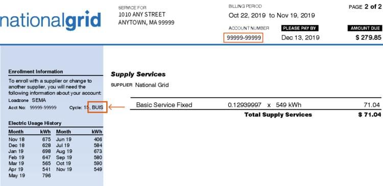 MA Electric National Grid Bill