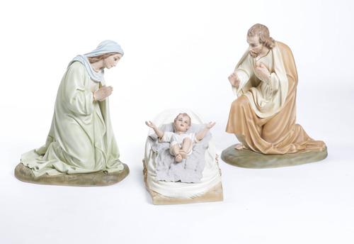 Mary,Joseph & Baby In Manger