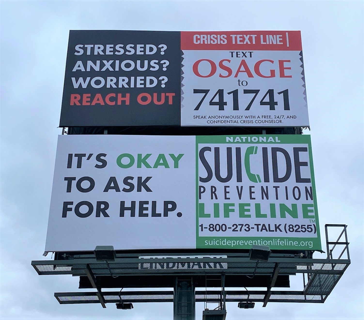 crisis text line and suicide prevention billboards photo