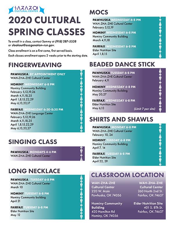 2020 Spring Class Schedule