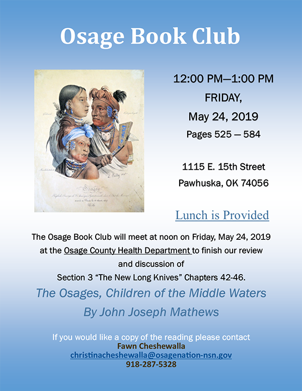 Osage Book Club Flyer for May 2019
