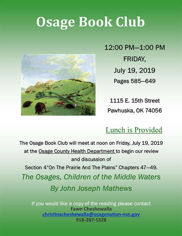 flyer for July 2019 Osage Book Club meeting