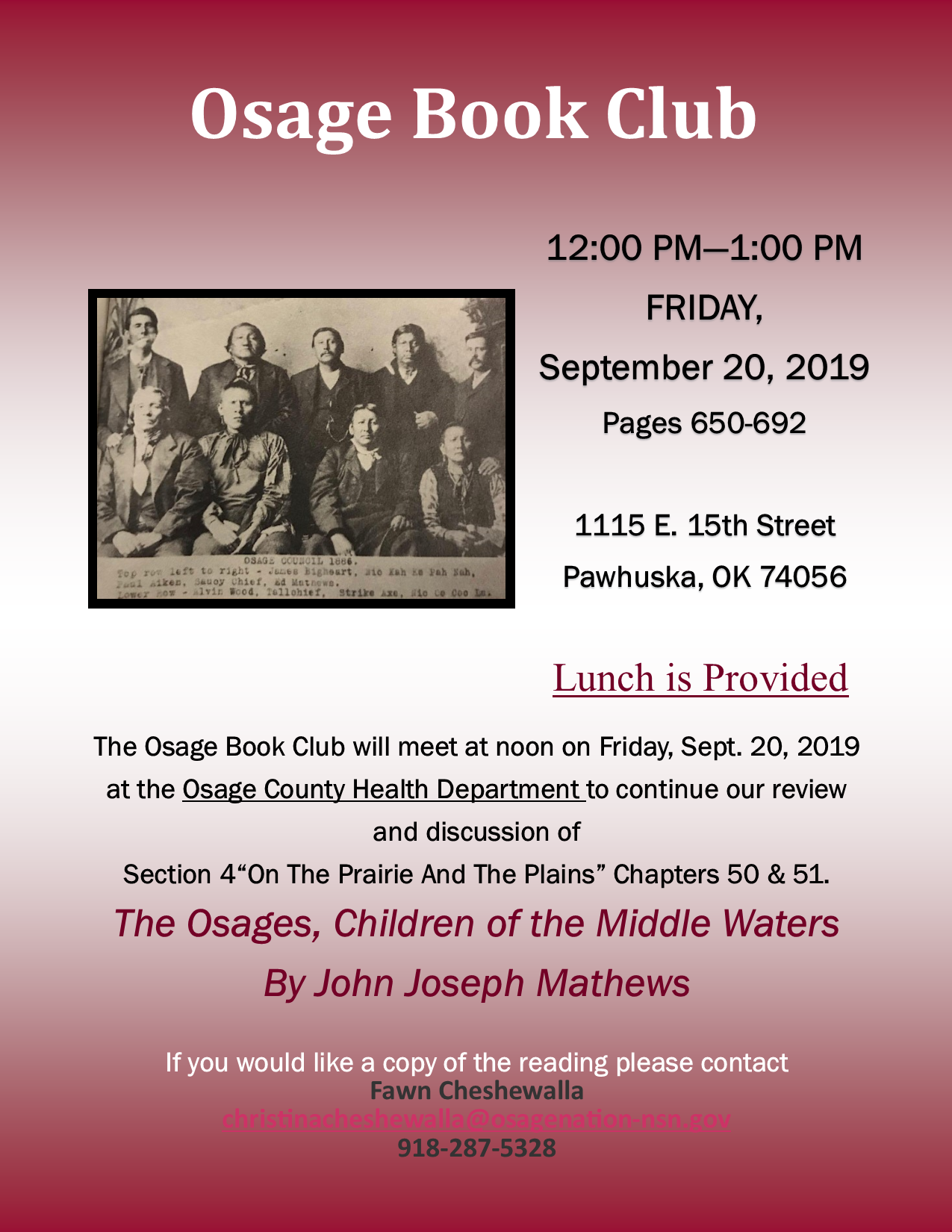 The Osage Book Club flyer