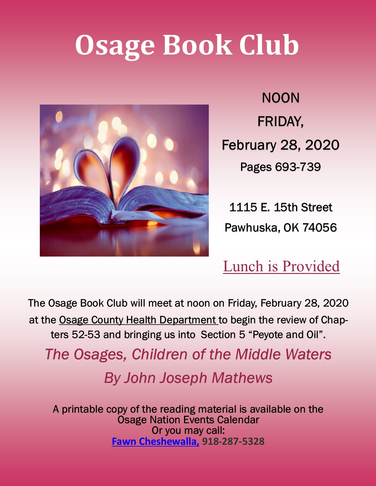 Osage Book Club flyer