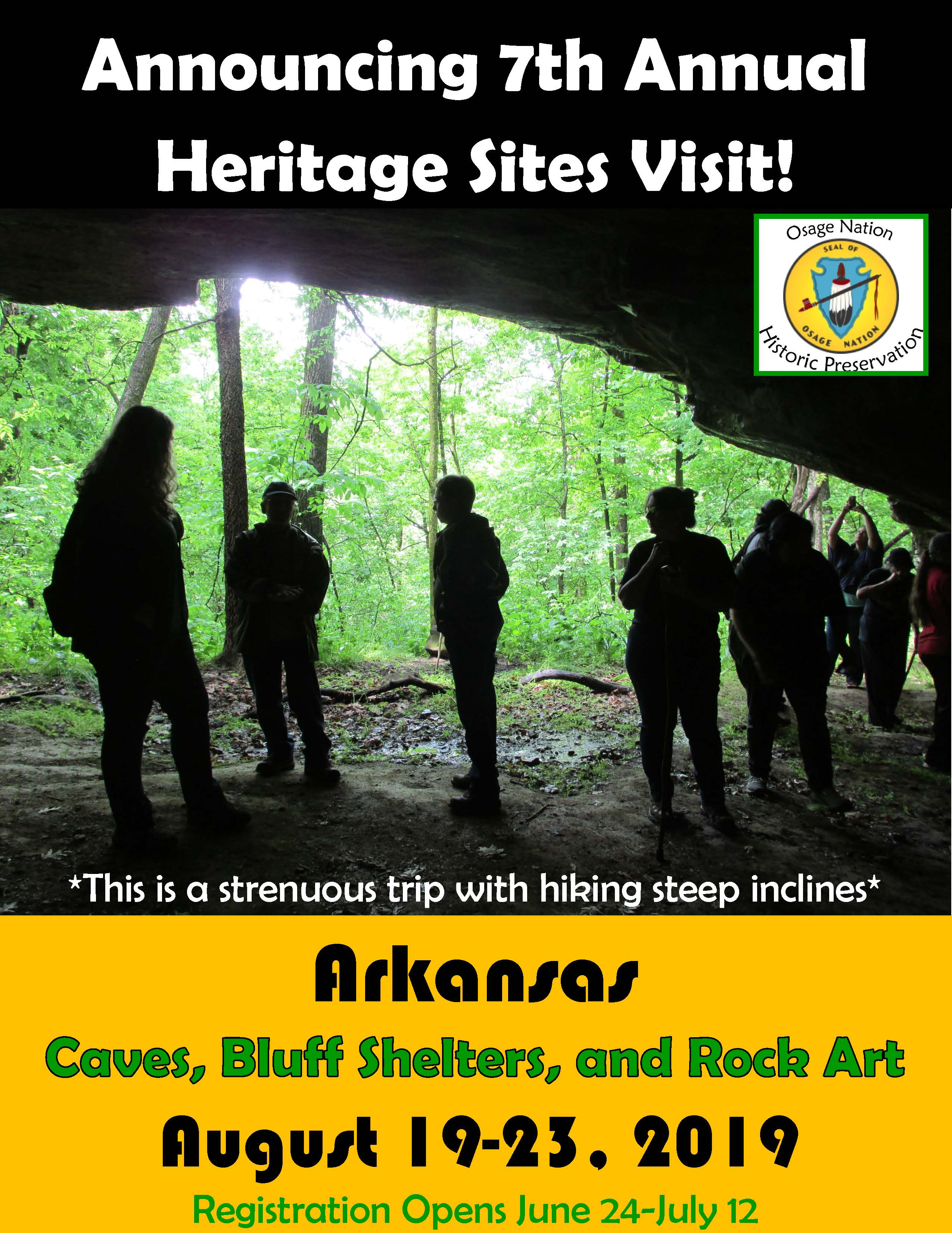 Save the Date announcement. Aug-19-23, 2019 Heritage Site Visit will be held in Arkansas