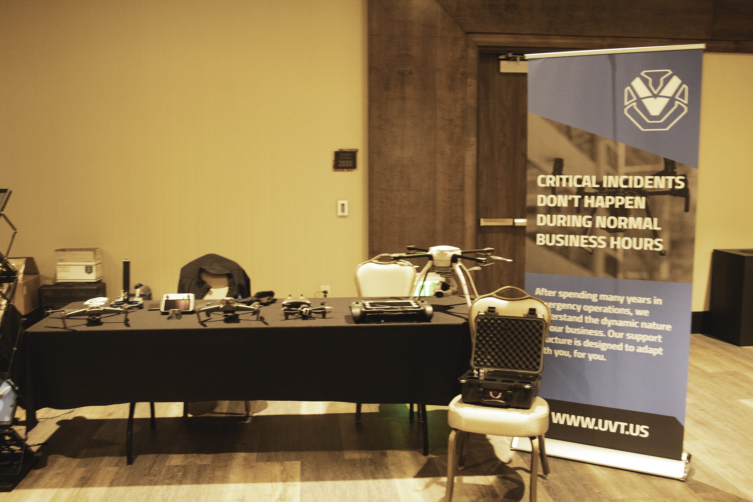 drone conference picture showing Unmanned Vehicle Technologies booth