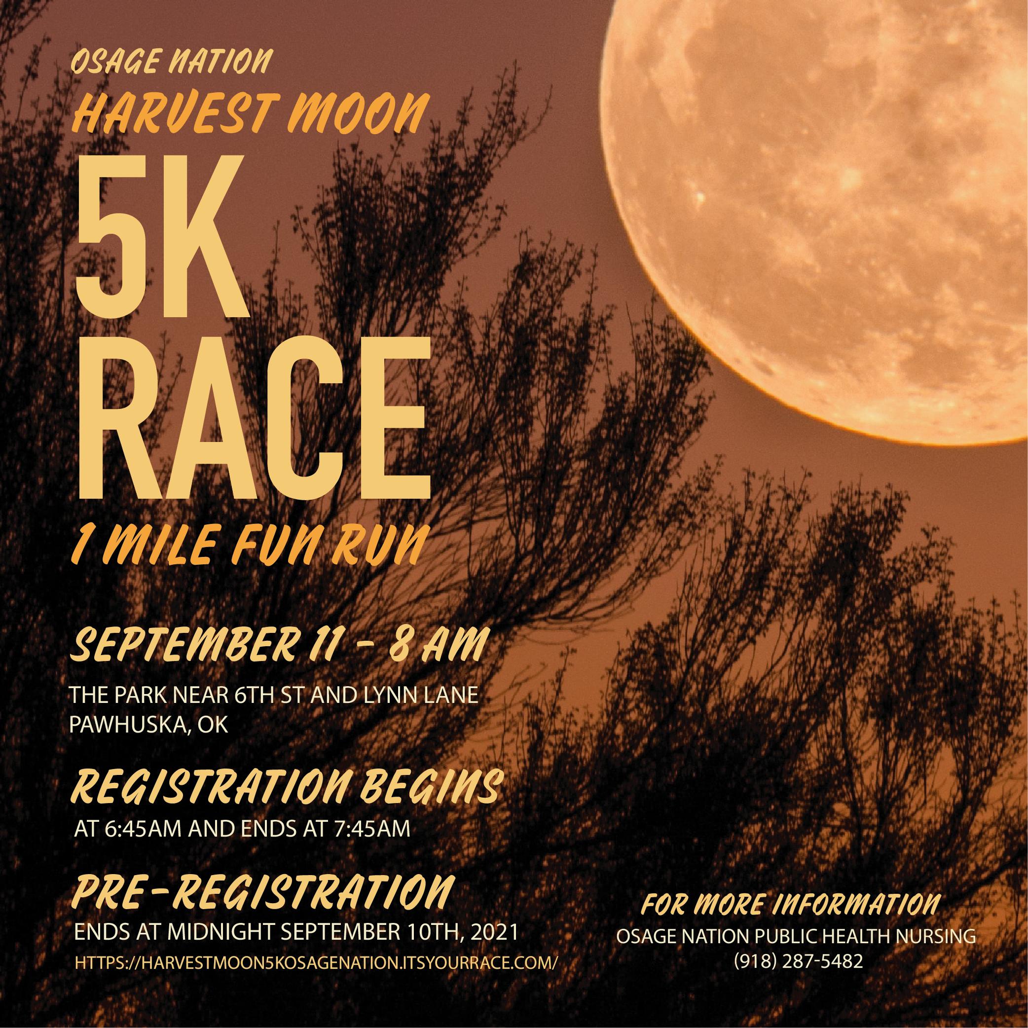 ON Harvest Moon 5K Run flyer