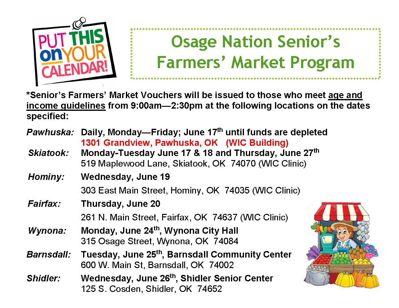 Osage Nation's Senior's Farmers' Market Program