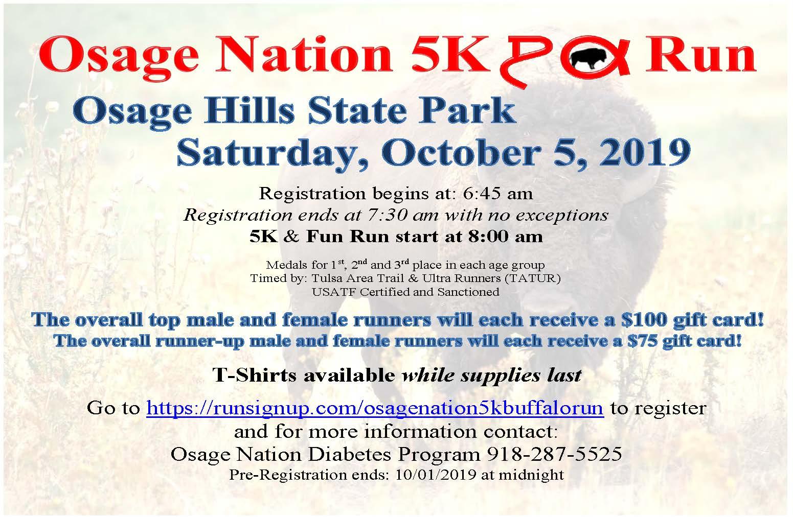Osage Nation 5K Run flyer