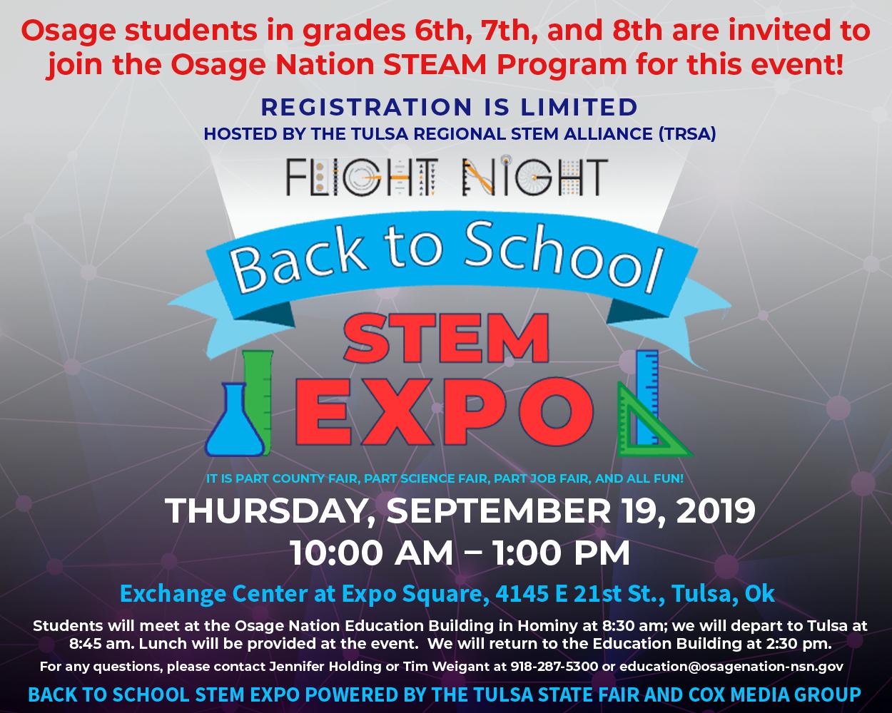 flyer for Flight Night Back to School Stem Expo