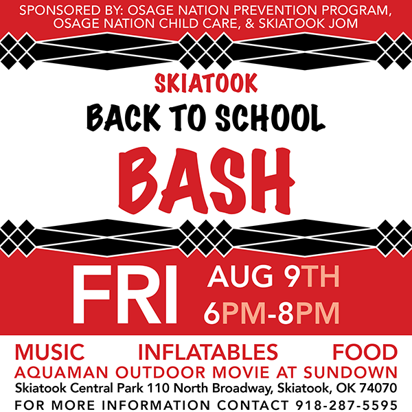 Flyer for Skiatook Back to School Bash