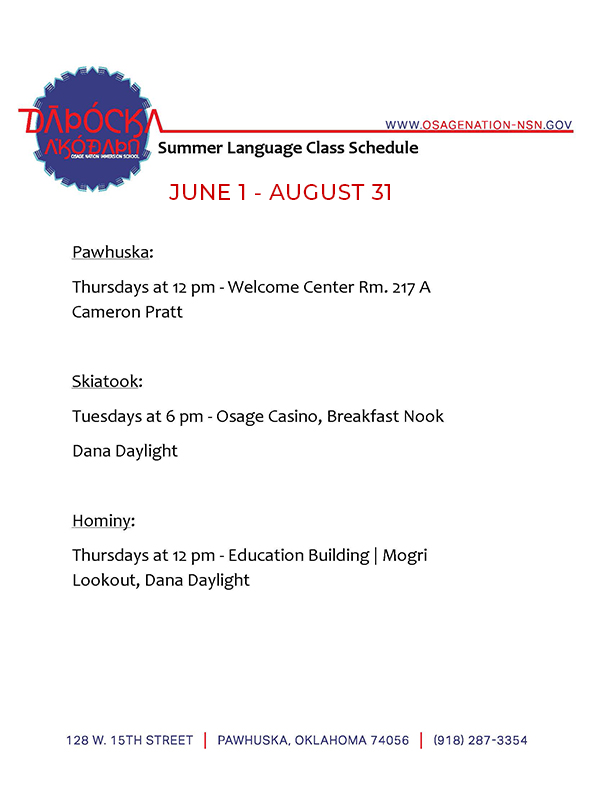 Summer Language Class Schedule