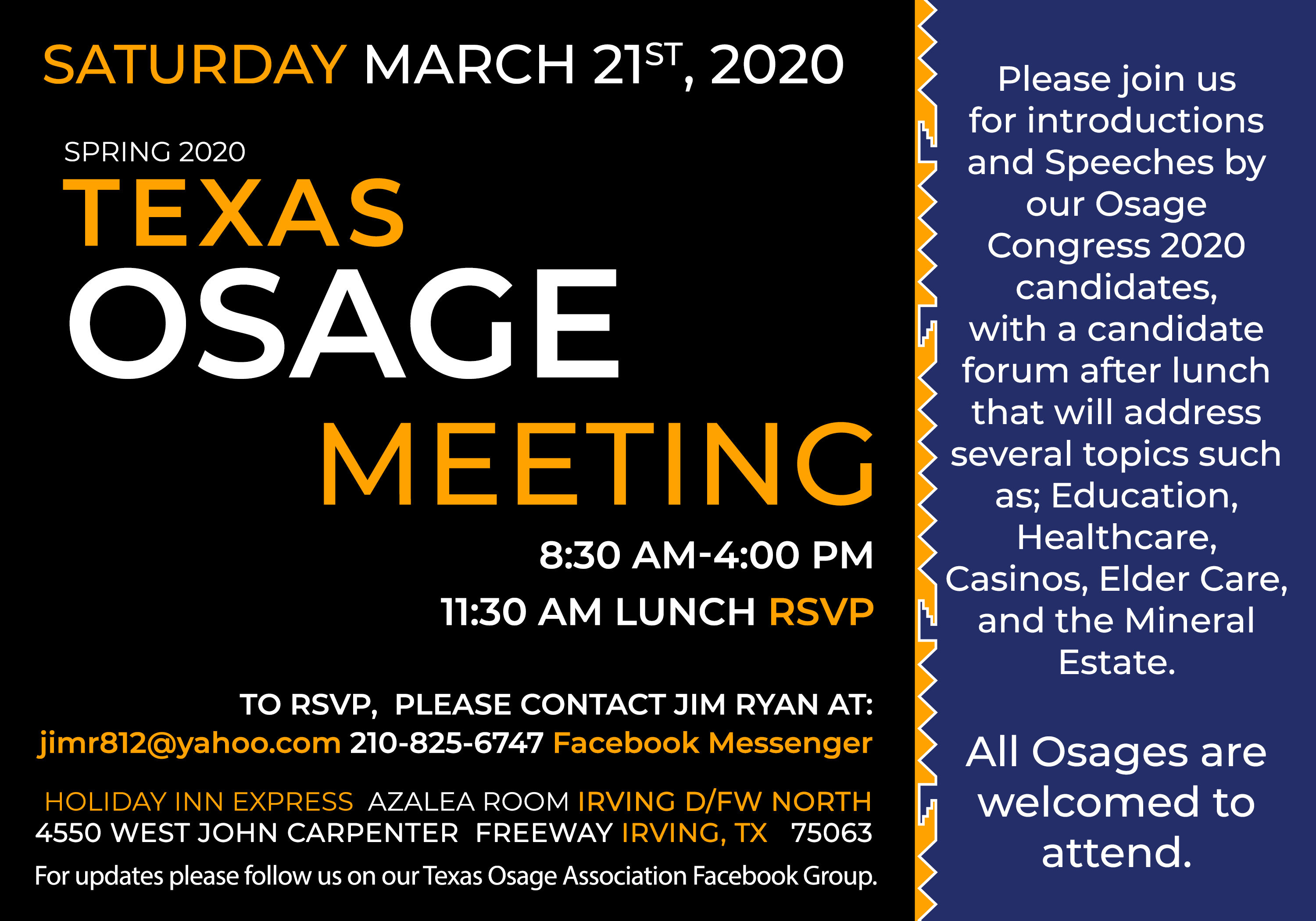 Texas Osage Spring Meeting flyer