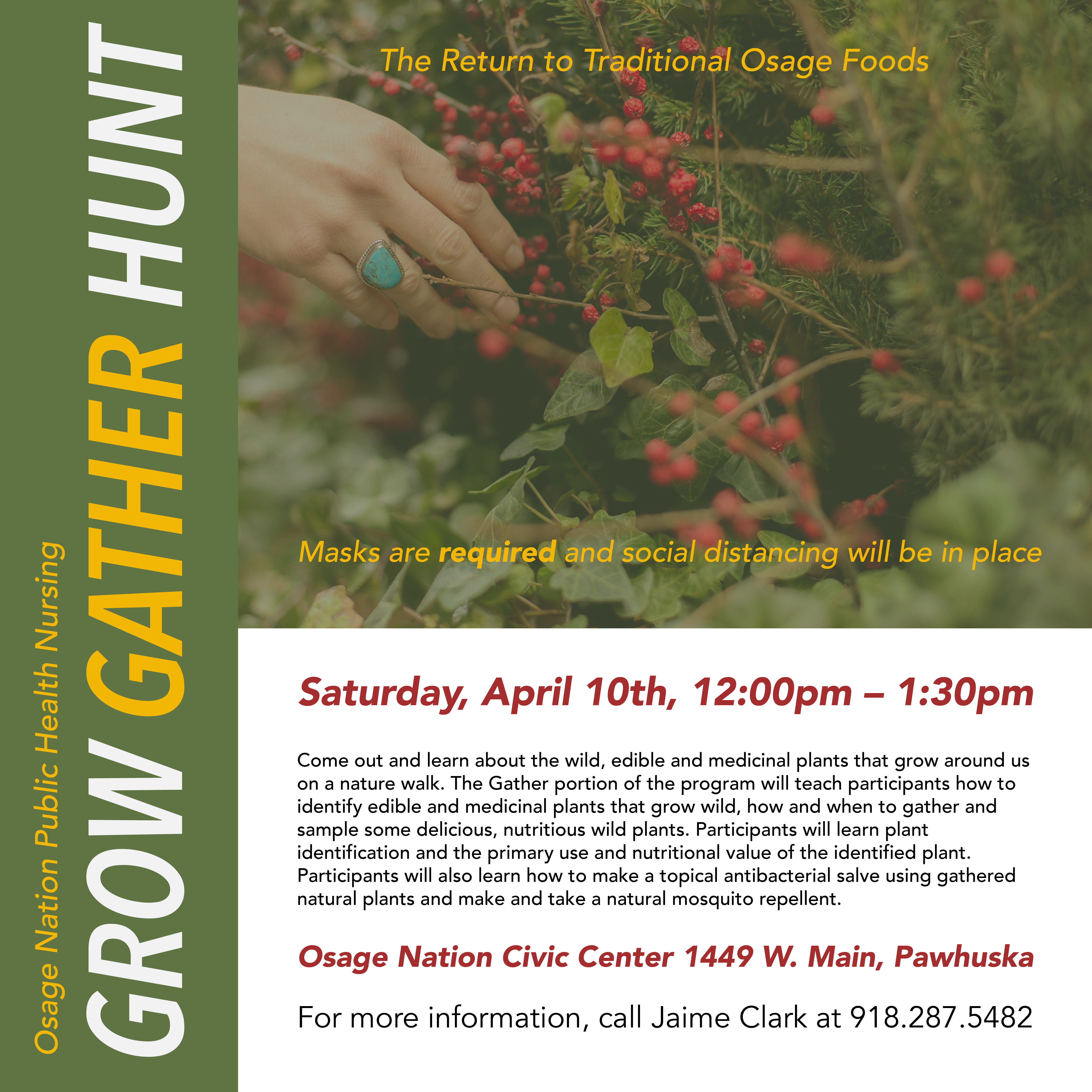 Grow Gather Hunt flyer