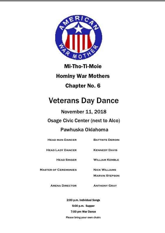 Hominy War Mothers Veterans Day Dance Flyer