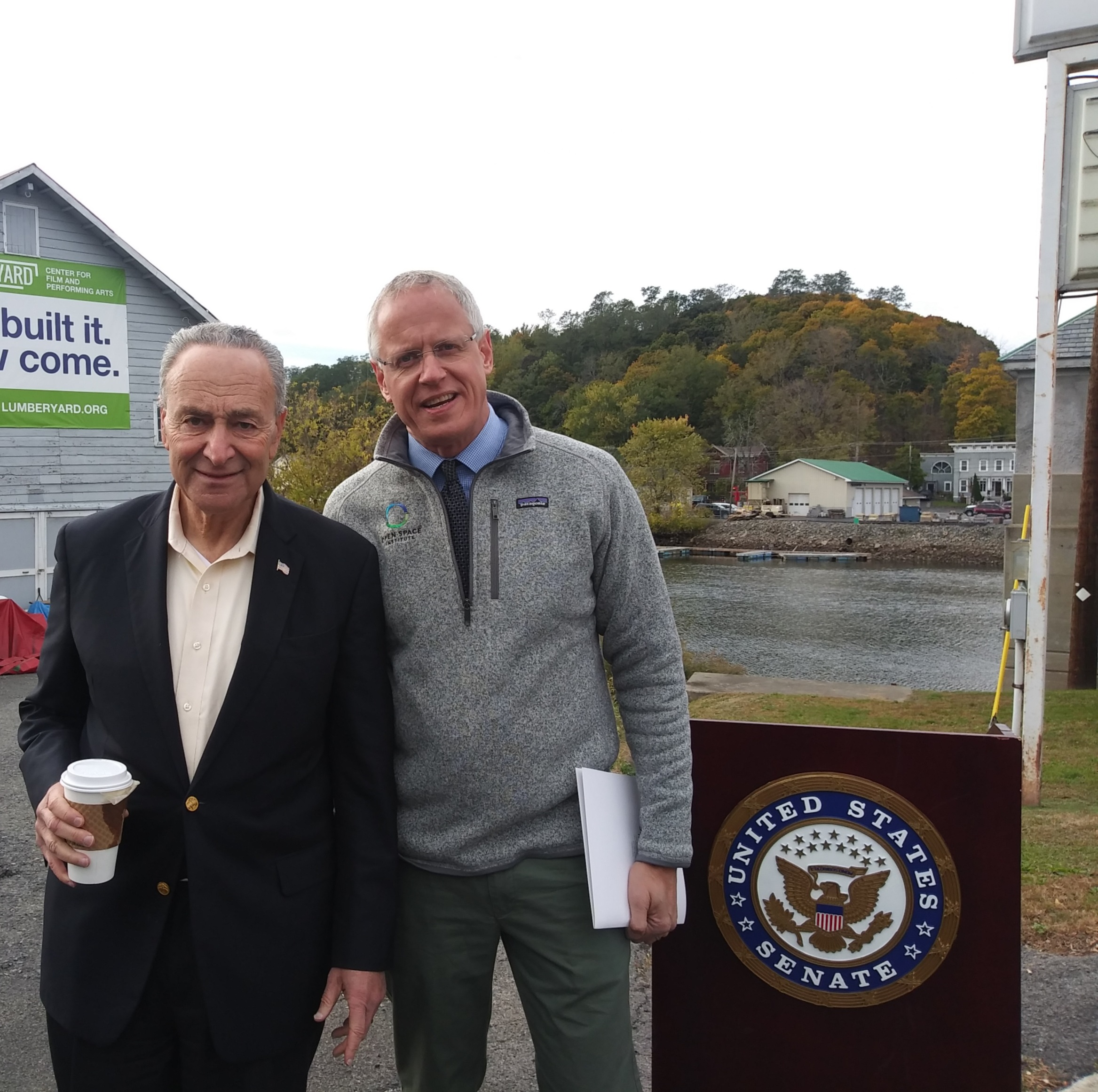 Senator Chuck Schumer (left) with the Senior Vice President of the Open Space Institute Erik Kulleseid.