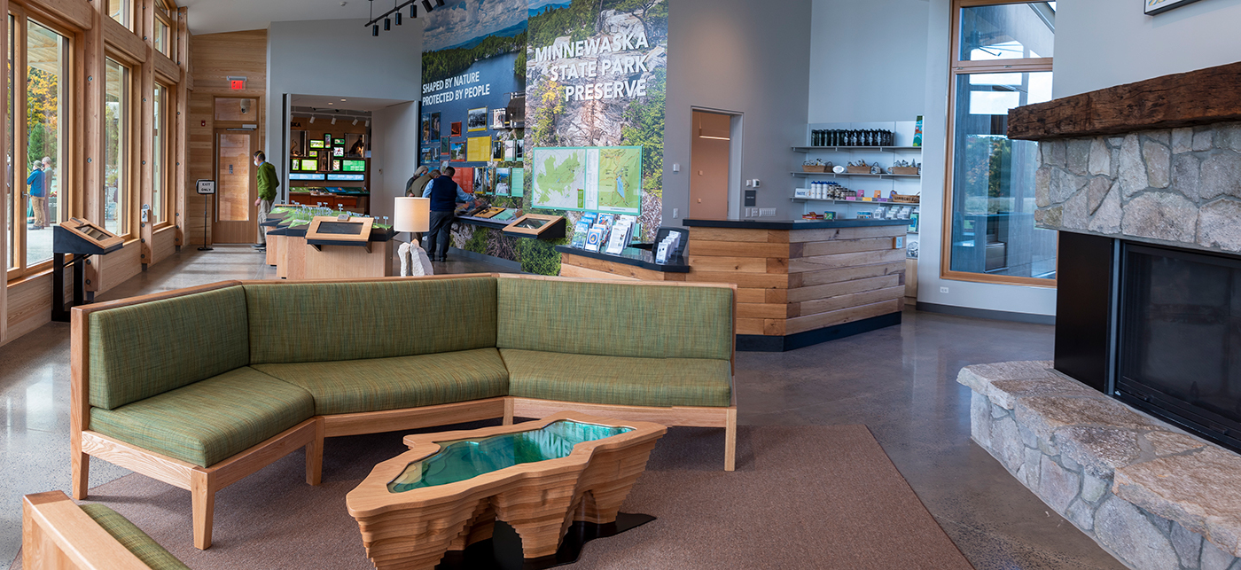The new visitor center makes it possible for park explorers to learn about Minnewaska's history, experience hands-on exhibits about the park's ecology, refresh and fill up waterbottles, and much more.
