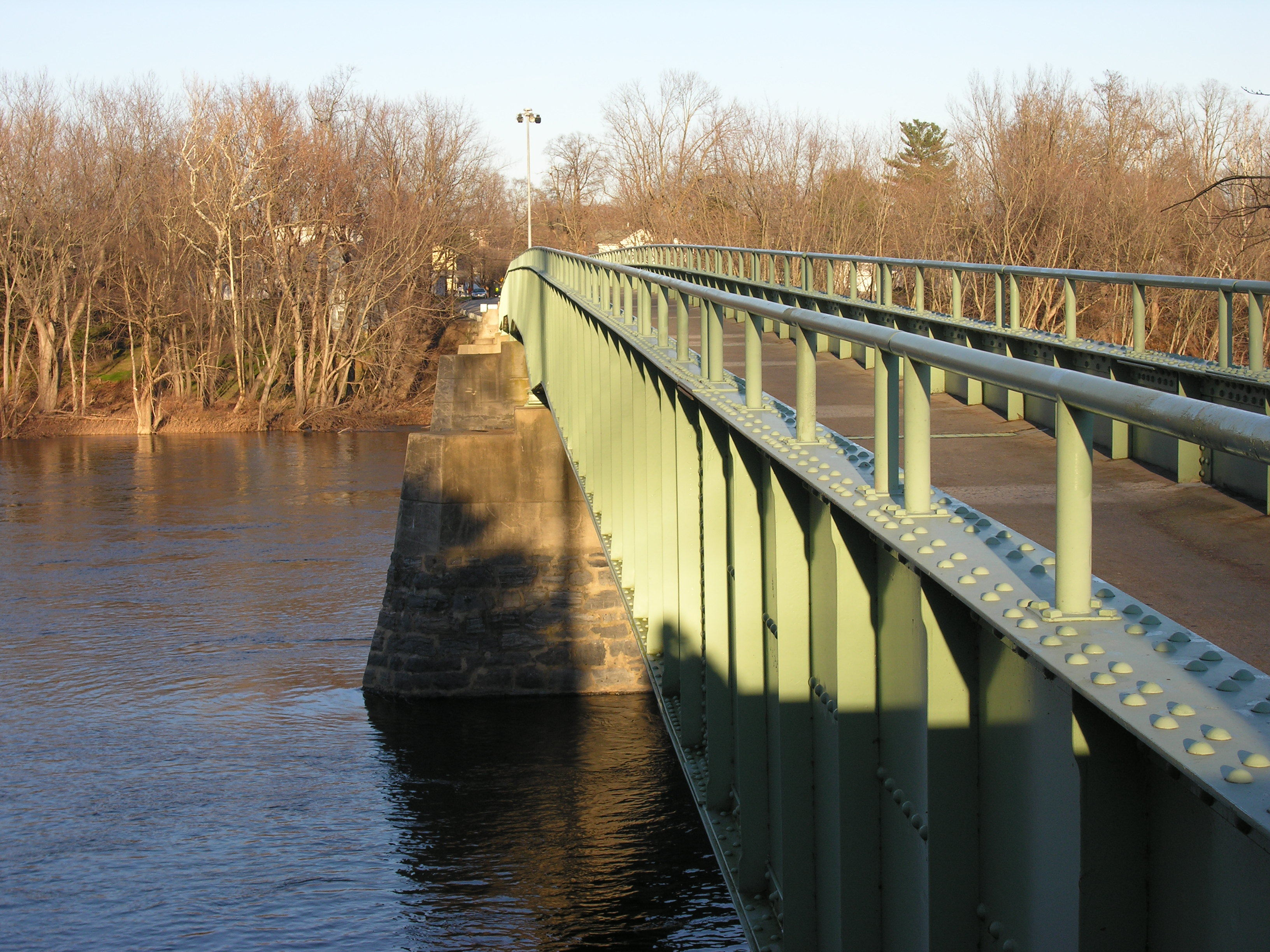 The Portland-Columbia Pedestrian Bridge, which spans the Delaware River between Columbia, NJ (part of Knowlton Township) and Portland, PA, was rebuilt after it was destroyed in flooding caused by Hurricane Diane in 1955.