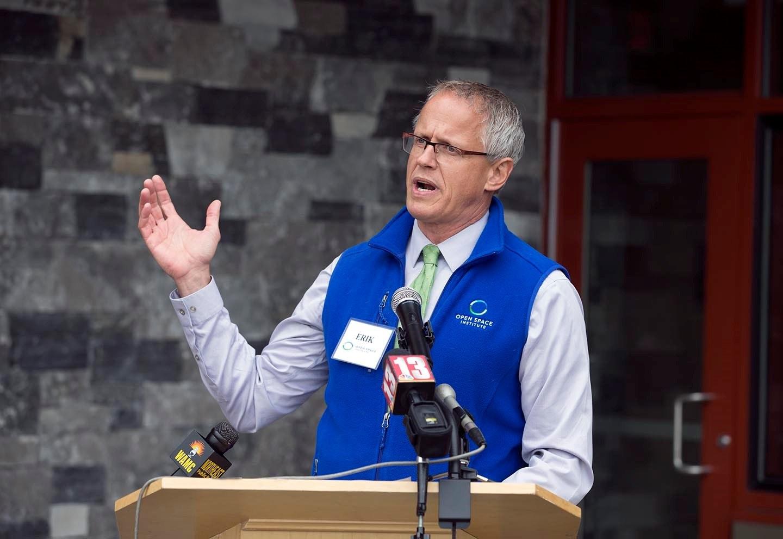 Erik Kulleseid speaking at the Opening of Thacher Park Center at John Boyd Thacher State Park