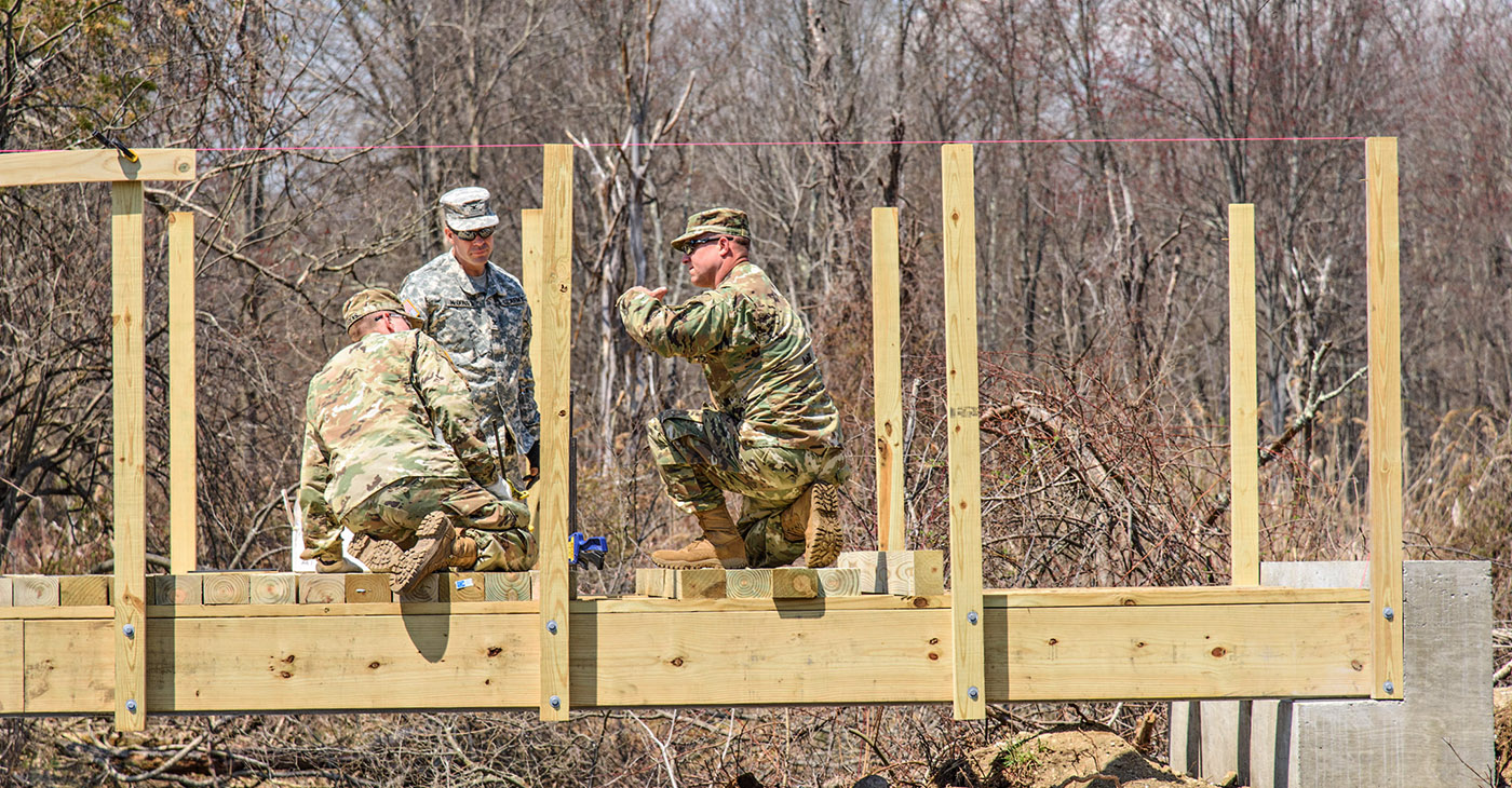 The School Mountain Road bridge replacements are part of a capstone design course for civil engineering cadets at the USMA. As part of the course, the cadets designed two shared-use bridges (for hikers, equestrians and skiers), prepared the site, and are now finishing up the first bridge.