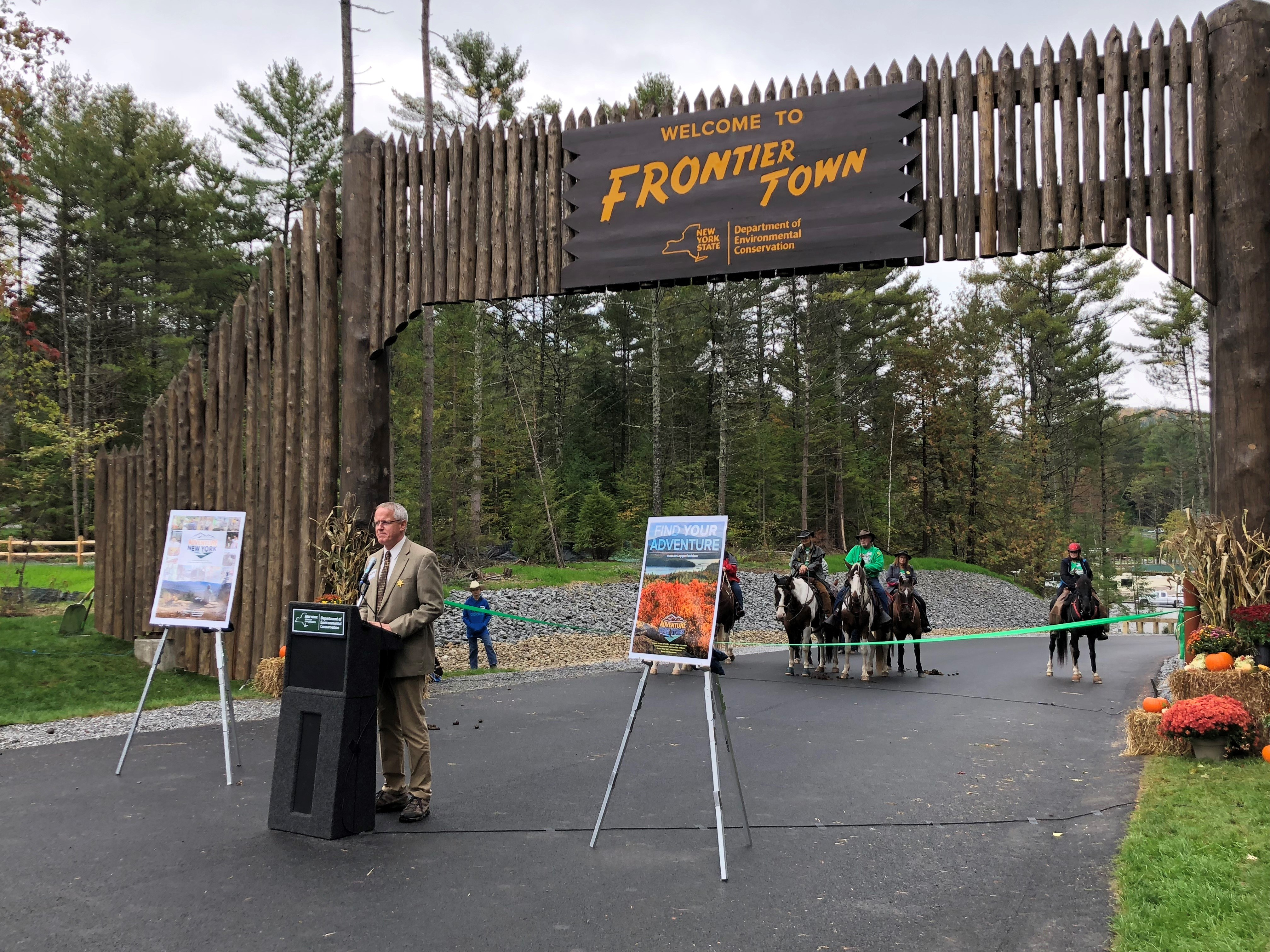 OSI's Erik Kulleseid speaking at the opening celebration for phase one of the Frontier Town Campground and Equestrian Day Use Area.