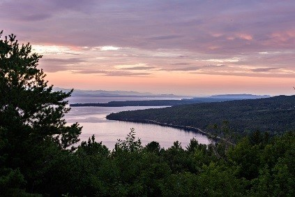 A view of Lake Champlain from the top of Mount Trembleau.