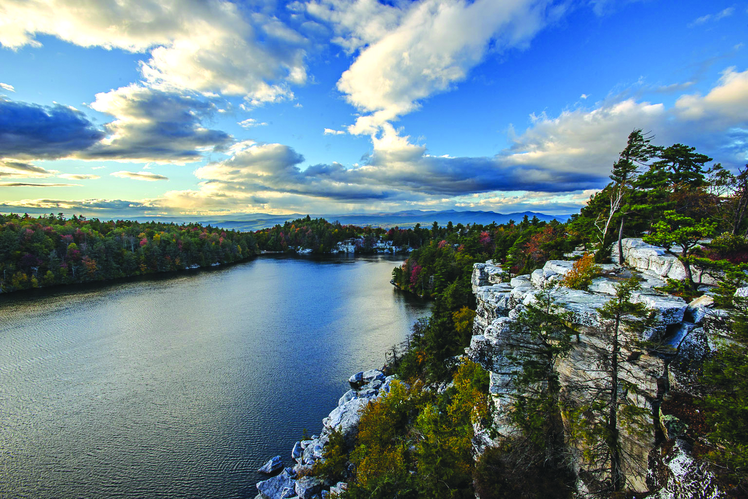 "Minnewaska includes 50 miles of trails and four pristine ""sky lakes,"" as well as a rare dwarf pitch pine ecosystem in the Sam's Point Area."