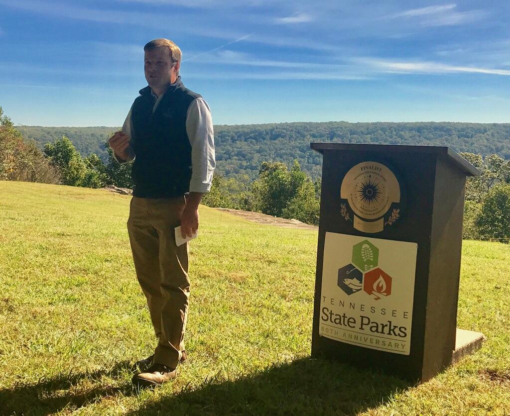 OSI's Joel Houser speaks at the dedication of Sherwood Forest.