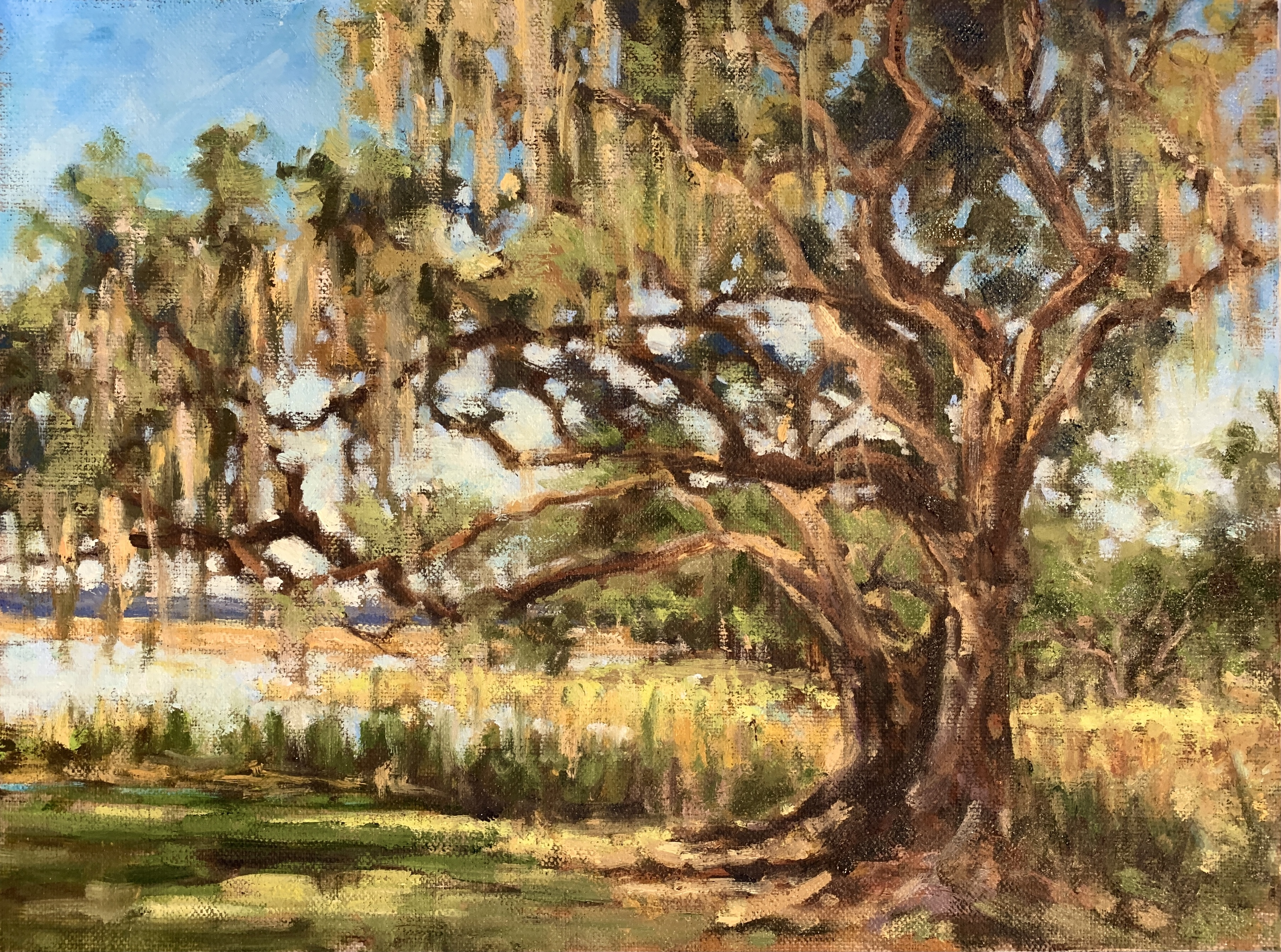 """Close up of """"Spring Oak"""" by Tammy Medlin. Dimensions: 12 x 9. $475"""