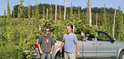 James Roe and Stuart Morris harvest hops grown at Indian Ladder Farm, conserved by OSI, for the farm's new brewery.