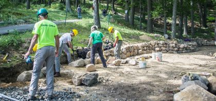 Work progresses on trails at Bear Mountain State Park.