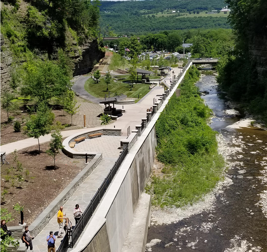 """This """"after"""" image shows how OSI's acquisition of the land made it possible to shift the parking area out of the gorge."""