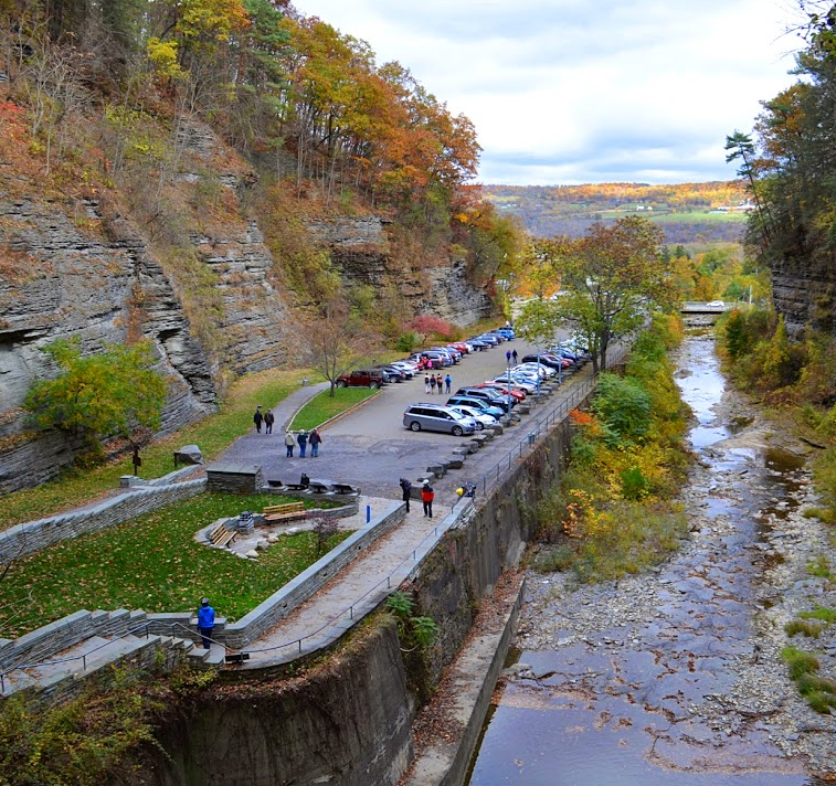 "This ""before"" image of the Watkins Glen State Park entrance shows the parking lot in the gorge."