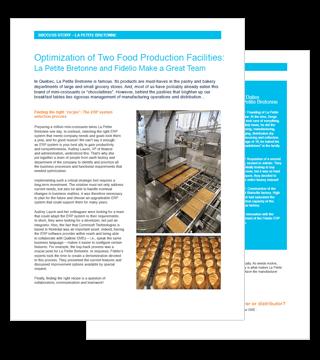 Optimisation de deux usines alimentaires : La Petite Bretonne et Fidelio forment une belle équipe