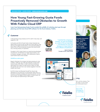 Success story of Gusta Foods and Fidelio Cloud ERP