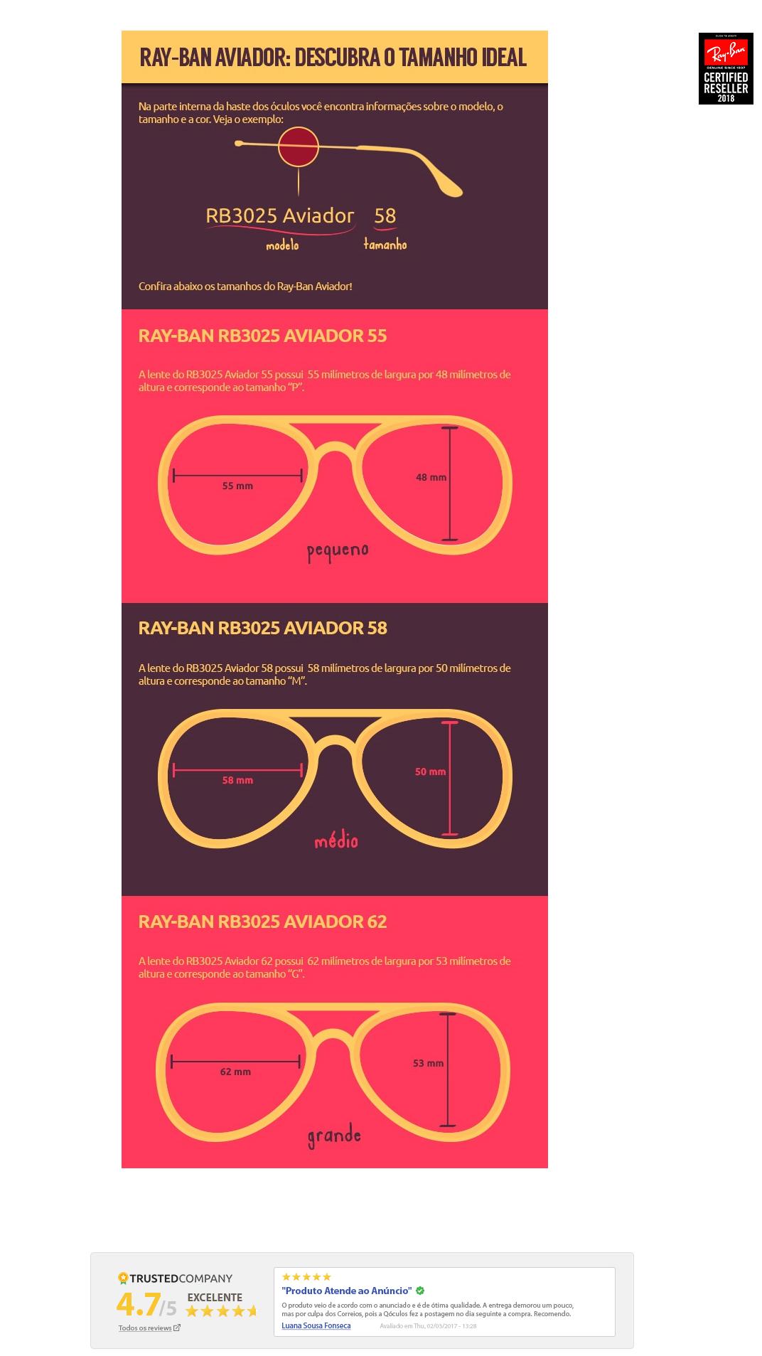 Hoje o RB 3025 esta disponível em varias cores e tamanhos, com lentes  Polarizadas, com toda a qualidade dos óculos Ray Ban que todos já conhecem. d91ecfa5b4