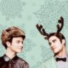 Klaine Holiday Icon Kurt with fuzzy hat and Blaine with antlers