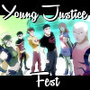 Young Justice team including Artemis, Robin, Kid Flash, Superboy, Miss Martian, and Aqualad on a black background with white text that read Young Justice Fest.