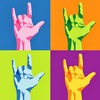 """A four-panel image, each with a different colour scheme, of the American Sign Language """"I love you"""" hand shape."""