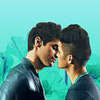 Icon shows Magnus and Alec kissing with a turquoise colored background.