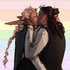 [image: art of Taako & Kravitz kissing over a pastel rainbow flag]