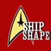 yellow comm badge with words ship shape on top in white. red background.