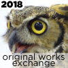 hooting owl with text that says 2018 original works exchange