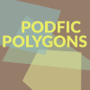 Podfic Polygons logo with an overlapping triangle, square, and pentagon