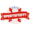 "Baseball with orange banner with the words ""sportsfest"""